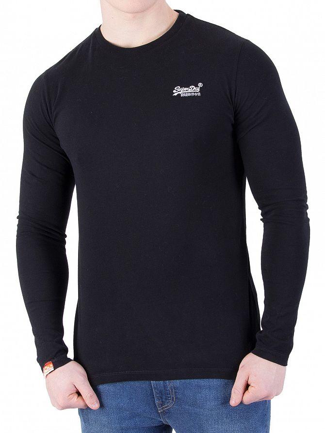 Superdry Black Longsleeved Orange Label Vintage T-Shirt