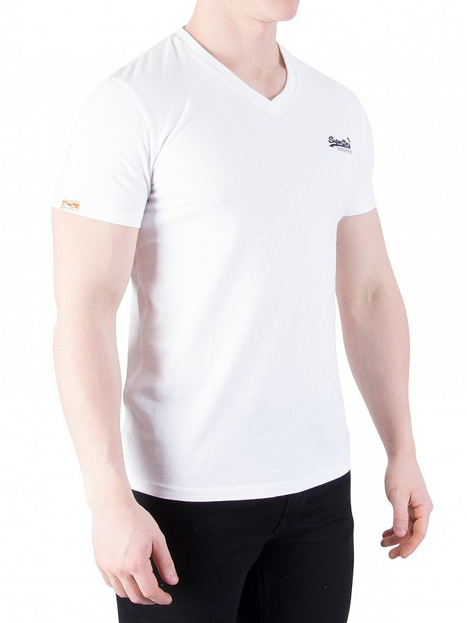 Superdry Optic White Orange Label Vintage V-Neck Logo T-Shirt