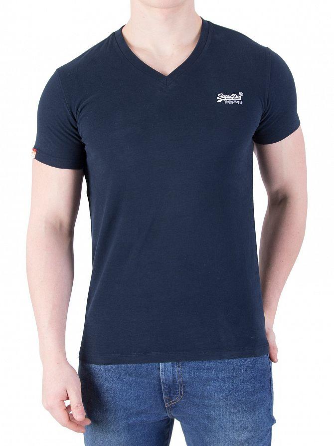 Superdry Eclipse Navy Orange Label Vintage V-Neck Logo T-Shirt