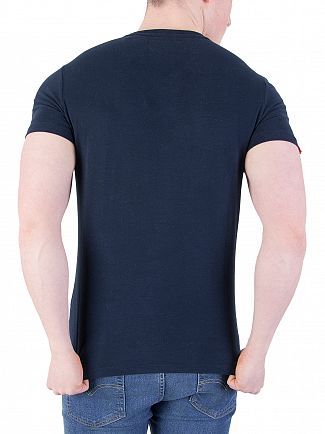 Superdry Eclipse Navy Orange Label Vintage V-Neck Logo T-Shirt