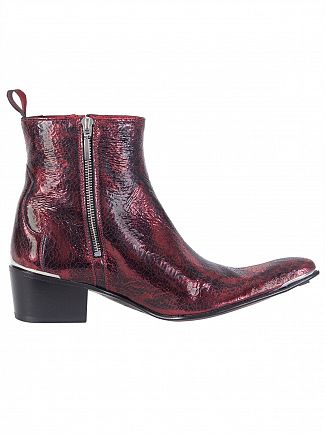 Jeffery West Red Break Metal Leather Zip Boots