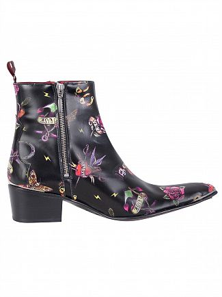 Jeffery West Tattoo Black Leather Zip Boots