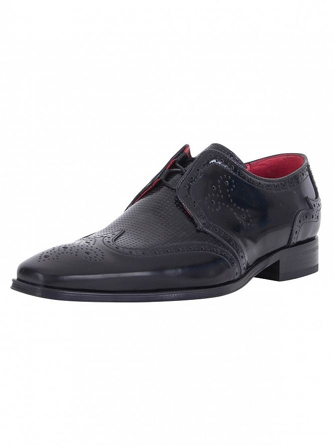 Jeffery West College Black Polished Shoes