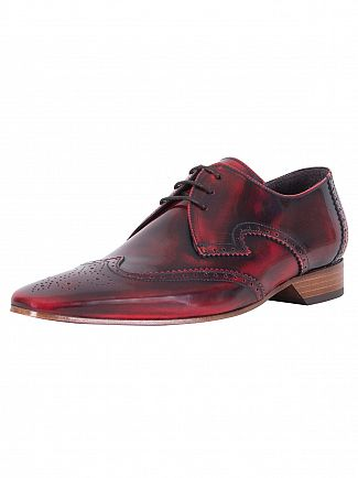 Jeffery West College Red Polished Shoes