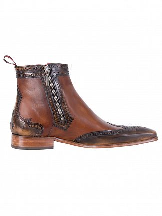 Jeffery West College Camel/Tolendo Castano Polished Zip Boots