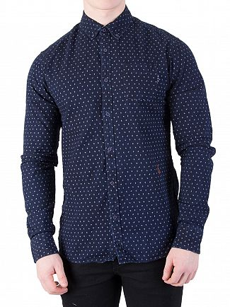 Scotch & Soda Navy Ams Blauw Allover Slim Shirt