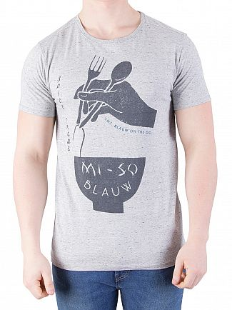 Scotch & Soda Grey Melange Ams Blauw Japanese T-Shirt