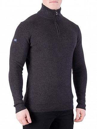 Superdry Black/Charcoal Twist Metropolitan Northside Henley Knit