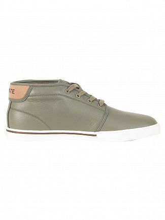 Lacoste Khaki/Off White Ampthill 118 2 CAM Leather Trainers