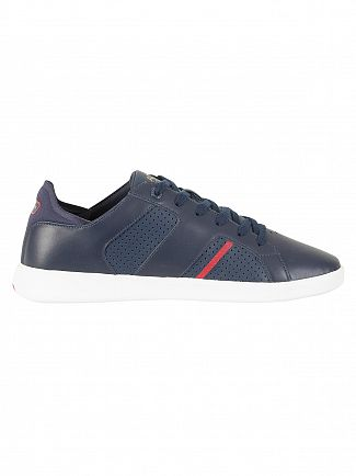 Lacoste Navy/Red Novas CT 118 1 SPM Leather Trainers
