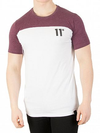 11 Degrees Aubergine Marl/White Block T-Shirt