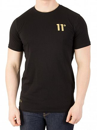 11 Degrees Black/Gold Logo T-Shirt