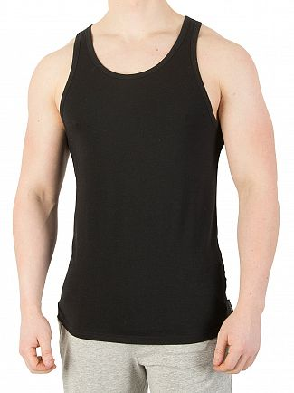 Calvin Klein Black 2 Pack Cotton Stretch Vests