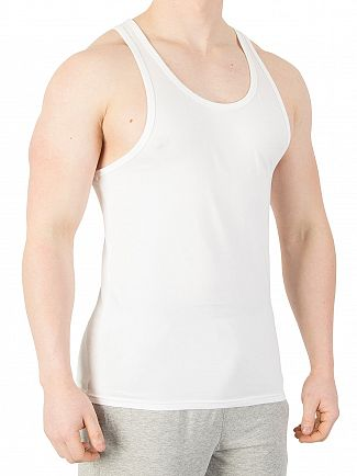 Calvin Klein White 2 Pack Cotton Stretch Vests