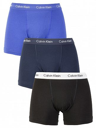 Calvin Klein Black/Cobalt/Blue 3 Pack Cotton Stretch Trunks