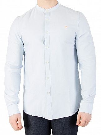 Farah Vintage Sky Blue Brewer Slim Grandad Shirt