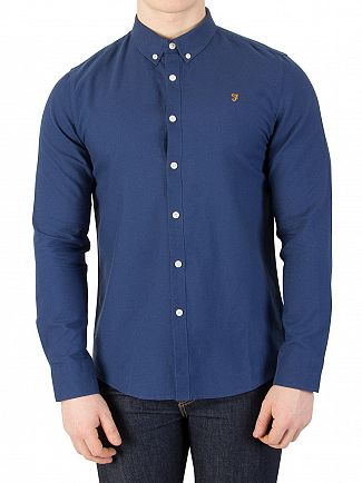 Farah Vintage Regatta Blue Brewer Slim Shirt