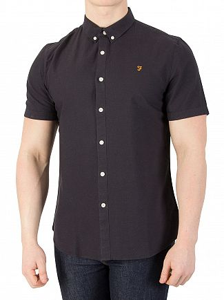 Farah Vintage Navy Brewer Slim Short Sleeved Shirt