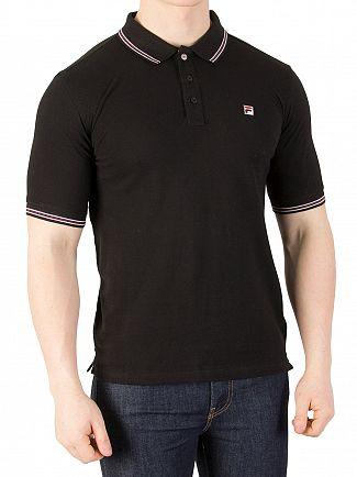 Fila Vintage Black Matcho Tipped Polo shirt