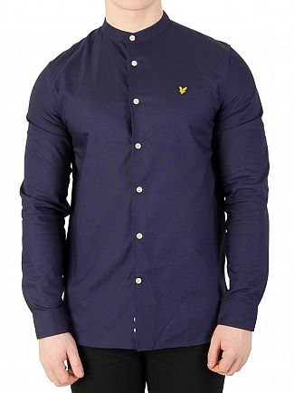 Lyle & Scott Navy Grandad Collar Shirt