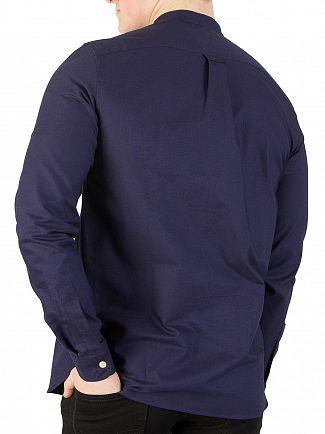 Lyle & Scott Navy Grandad Collar Shirt