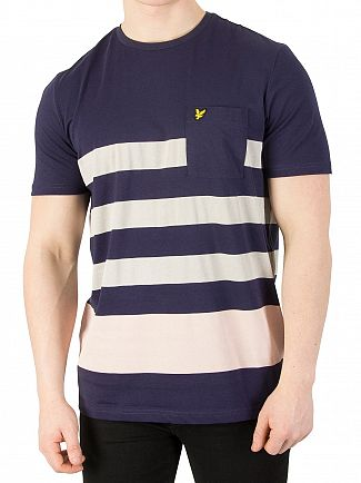 Lyle & Scott Navy Wide Stripe T-Shirt