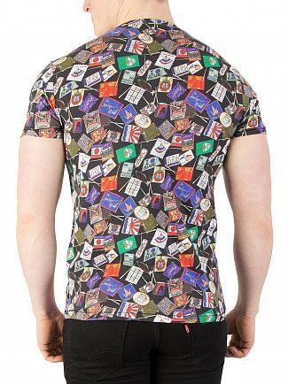 Scotch & Soda Combo A Ams Blauw Allover Print T-Shirt