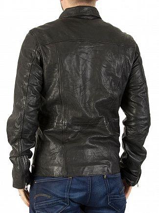 Scotch & Soda Black Light Leather Shirt Jacket