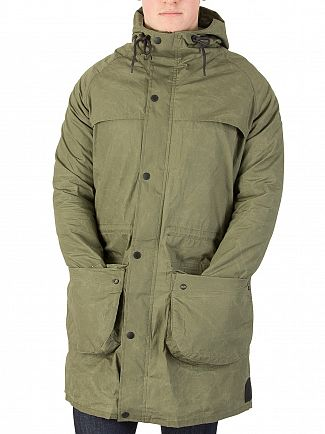 Scotch & Soda Military Green Washed & Waxed Parka Jacket