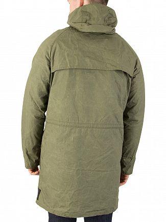 Scotch & Soda Military Green Washed & Waxed Parka Jacket