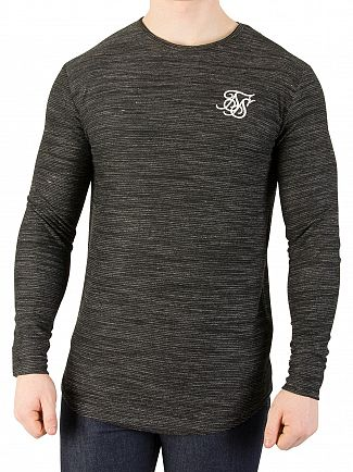 Sik Silk Black Longsleeved Inject Waffle T-Shirt