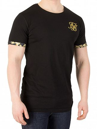 Sik Silk Black/Gold Venetian Rolled Sleeve T-Shirt