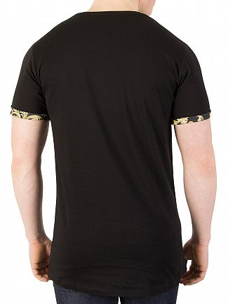 Sik Silk Black/Gold Venetian Rolled Sleeve T-Shirt