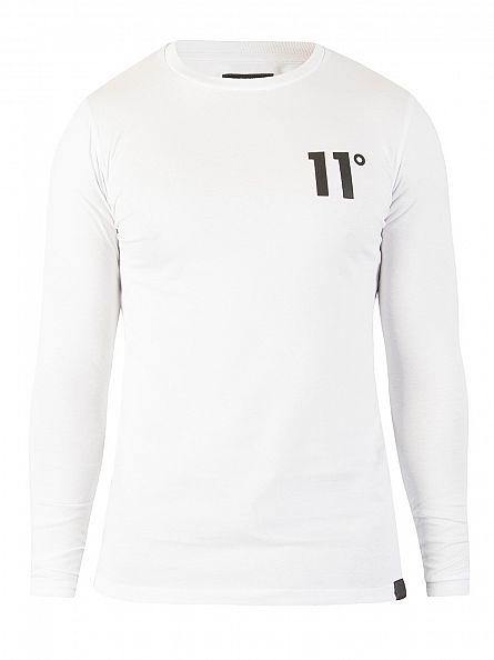 11 Degrees White Curved Hem Longsleeved Logo T-Shirt