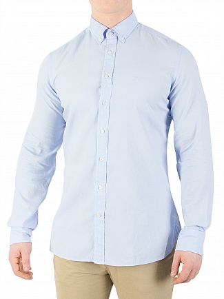 Hackett London Baby Blue Slim Washed Oxford Shirt
