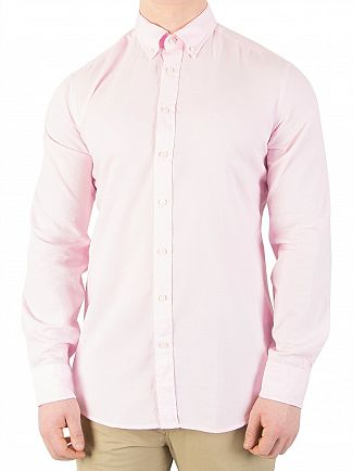 Hackett London Baby Pink Slim Washed Oxford Shirt