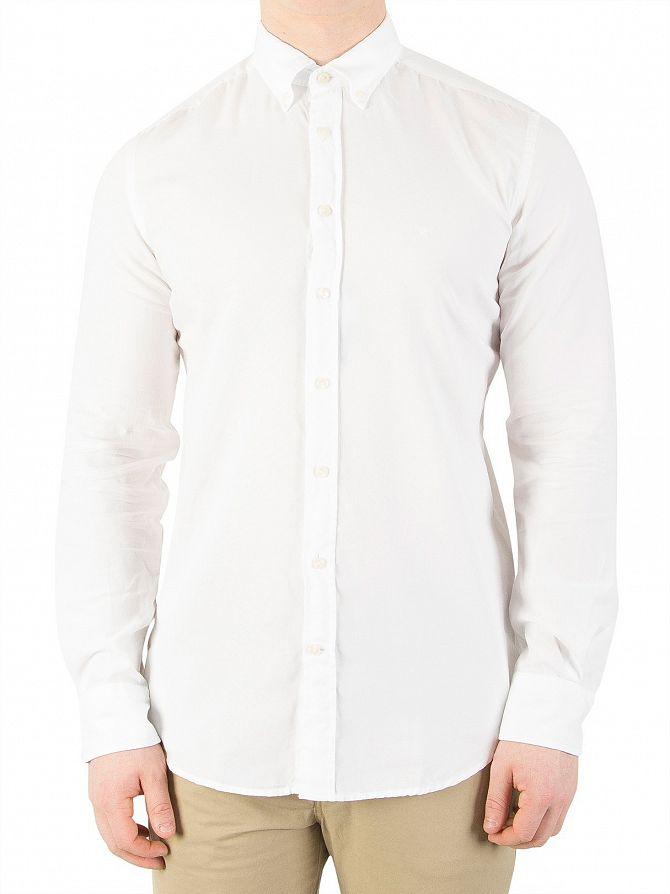Hackett London Optic White Slim Washed Oxford Shirt