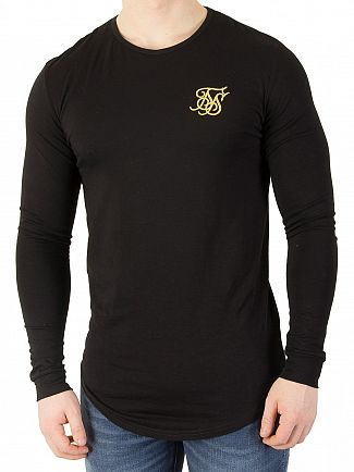 Sik Silk Black/Gold Longsleeved Gym T-Shirt