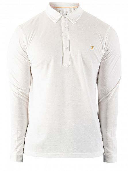 Farah Vintage White The Merriweather Longsleeved Polo Shirt