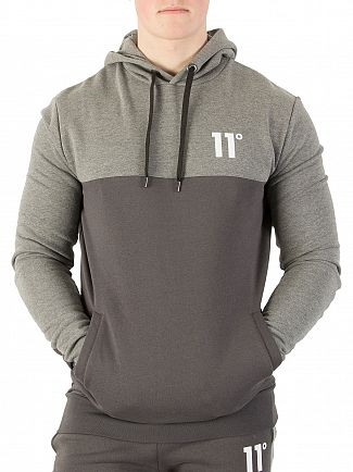 11 Degrees Smoke / Charcoal Marl Block Pullover Hoodie