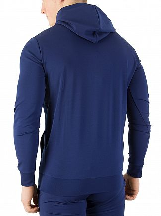 11 Degrees Navy Zipped Pullover Poly Hoodie