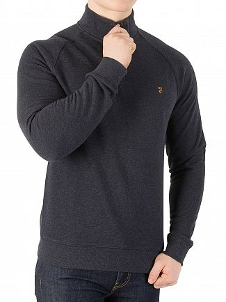 Farah Vintage Navy Marl Jim 1/4 Zip Knit