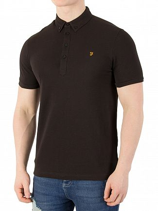 Farah Vintage Black Merriweather Polo Shirt