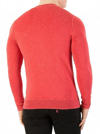 Superdry Washed Pillar Red Garment Dye L.A. Sweatshirt