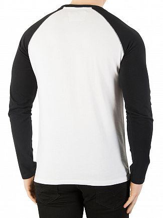 Superdry Black / Optic White Orange Label Baseball Longsleeved T-Shirt