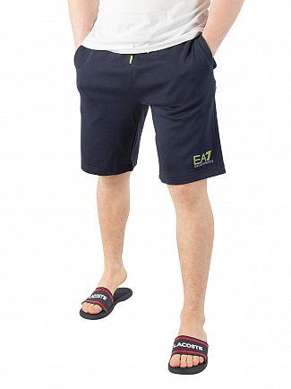 EA7 Navy Reflective Logo Sweat Shorts