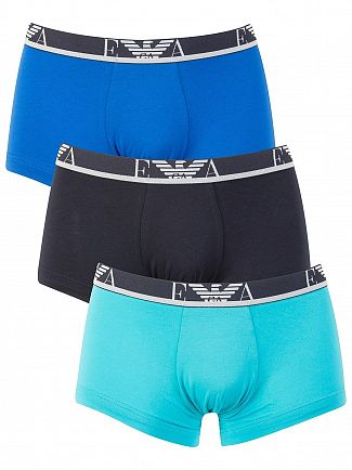 Emporio Armani Blue/Navy/Turquoise 3 Pack Logo Trunks