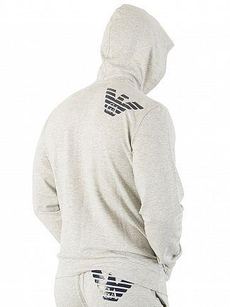 Emporio Armani Light Grey Marl Zip Loungewear Top