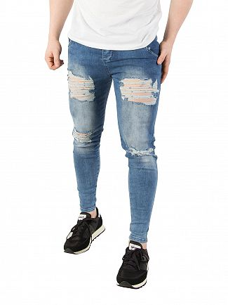 Sik Silk Blue Acid Wash Skinny Distressed Denim Jeans