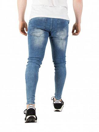 Sik Silk Blue Acid Wash Skinny Distressed Denim Jeans